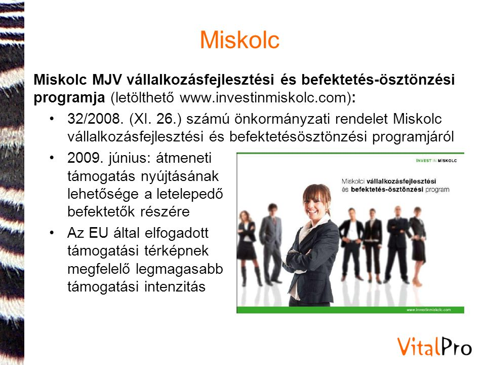 Miskolc Miskolc MJV vállalkozásfejlesztési és befektetés-ösztönzési programja (letölthető www.investinmiskolc.com):