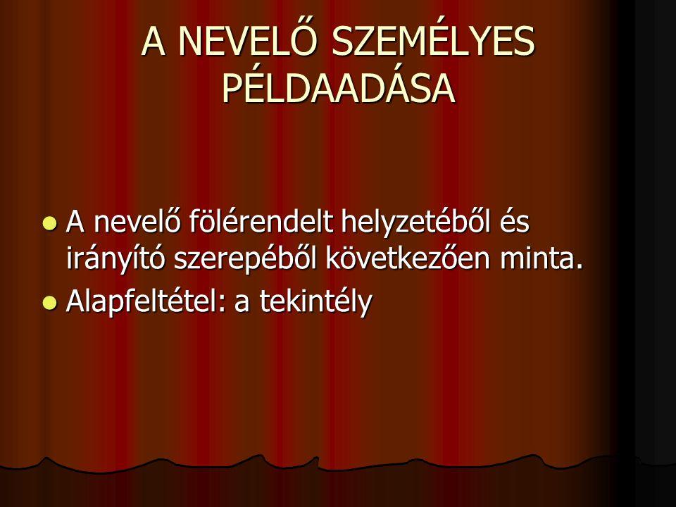 A NEVELŐ SZEMÉLYES PÉLDAADÁSA