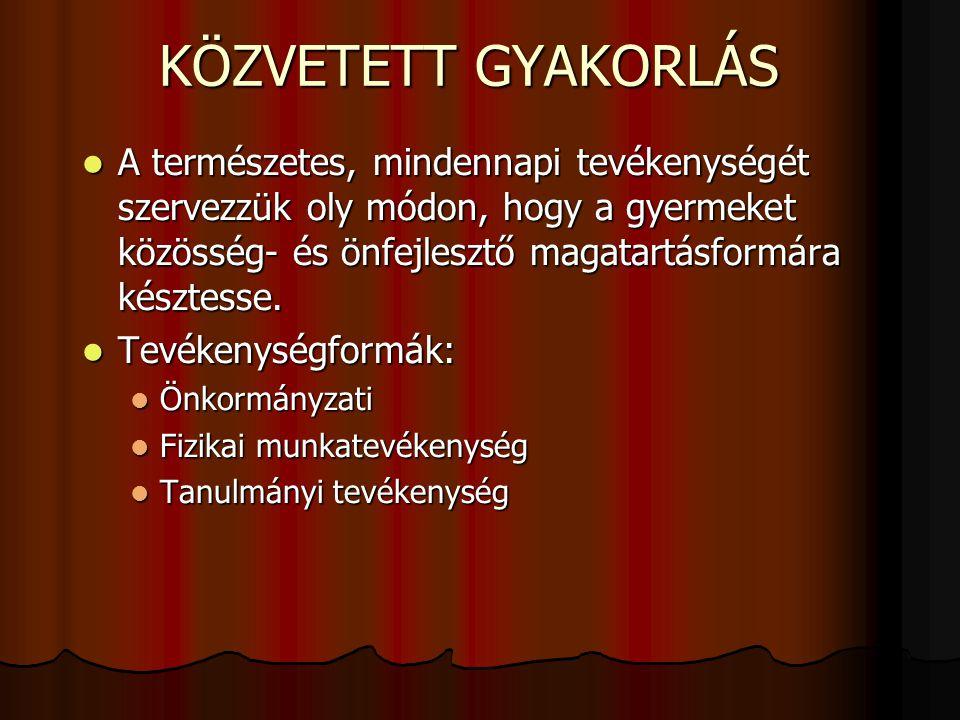 KÖZVETETT GYAKORLÁS