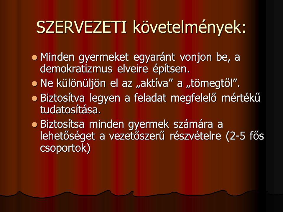 SZERVEZETI követelmények: