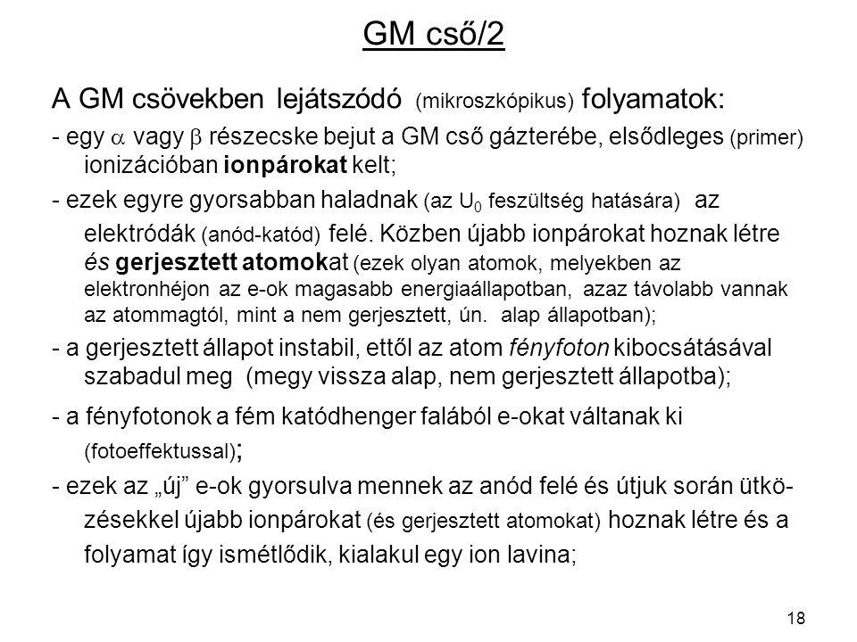 GM cső/2 A GM csövekben lejátszódó (mikroszkópikus) folyamatok: