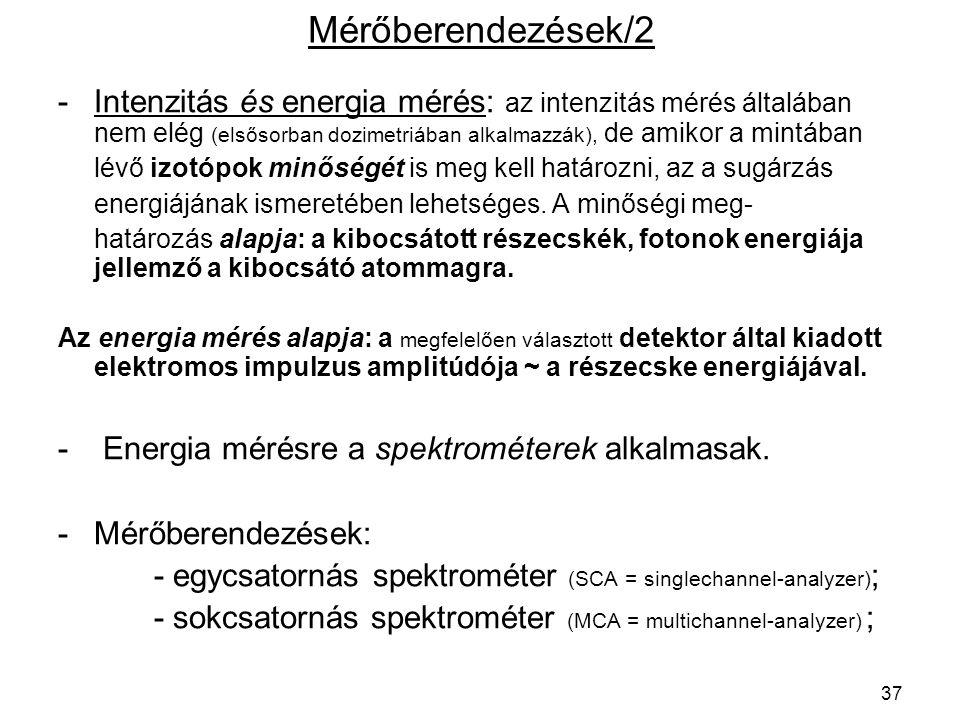 Mérőberendezések/2 Intenzitás és energia mérés: az intenzitás mérés általában nem elég (elsősorban dozimetriában alkalmazzák), de amikor a mintában.