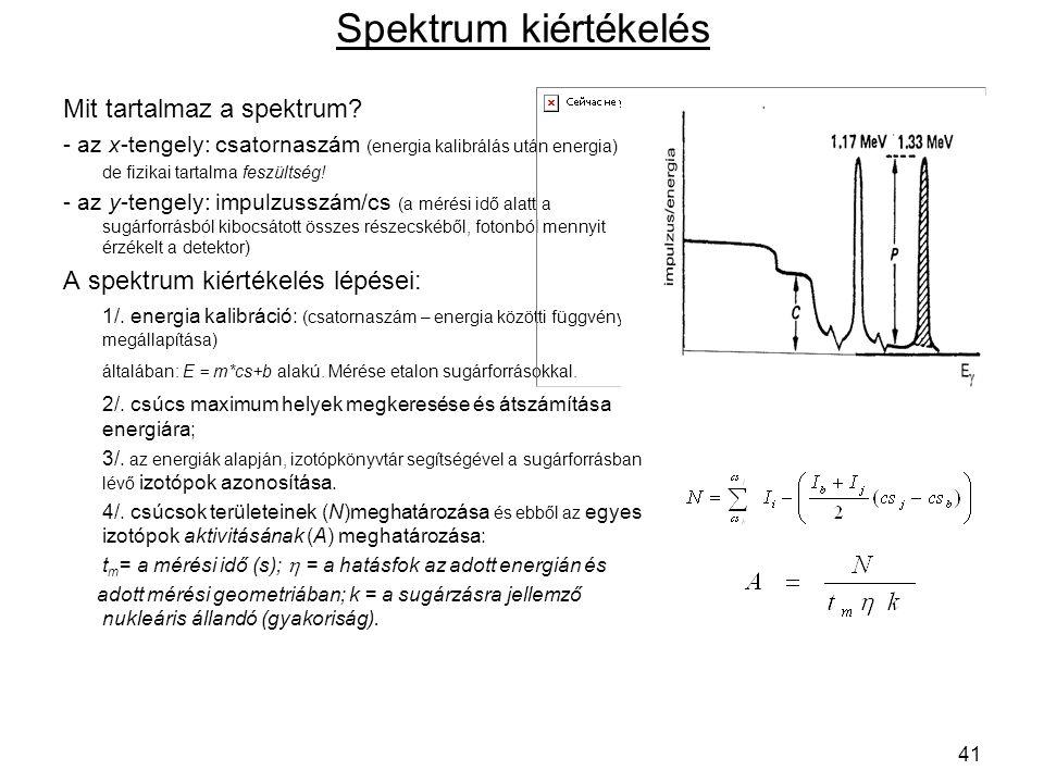 Spektrum kiértékelés Mit tartalmaz a spektrum