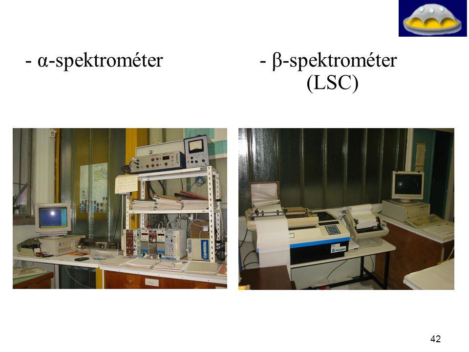- α-spektrométer - β-spektrométer (LSC)
