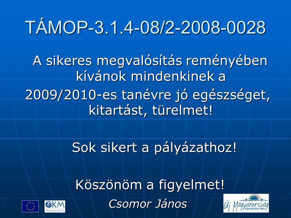 TÁMOP-3.1.4-08/2-2008-0028 A sikeres megvalósítás reményében kívánok mindenkinek a. 2009/2010-es tanévre jó egészséget, kitartást, türelmet!