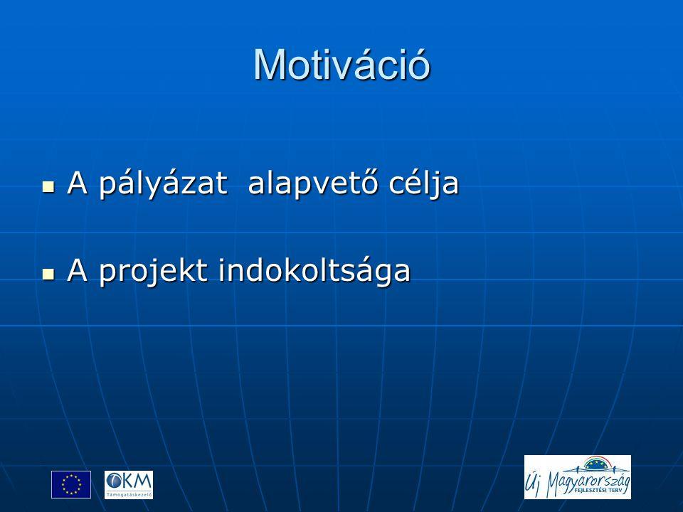 Motiváció A pályázat alapvető célja A projekt indokoltsága