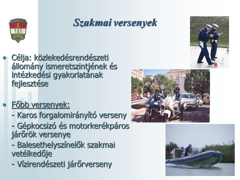 Szakmai versenyek Célja: közlekedésrendészeti állomány ismeretszintjének és intézkedési gyakorlatának fejlesztése.