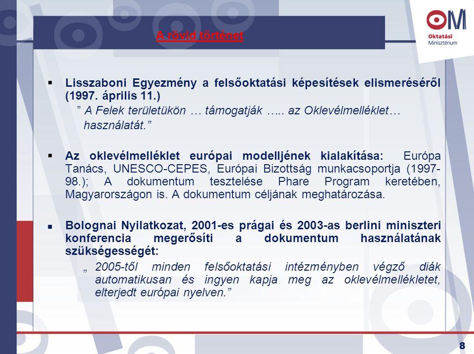 A rövid történet Lisszaboni Egyezmény a felsőoktatási képesítések elismeréséről (1997. április 11.)