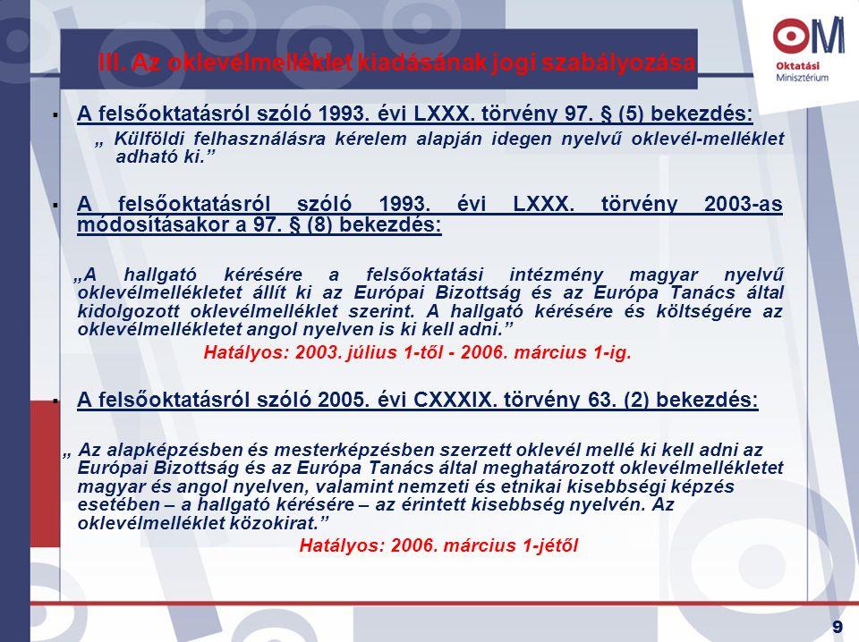 III. Az oklevélmelléklet kiadásának jogi szabályozása