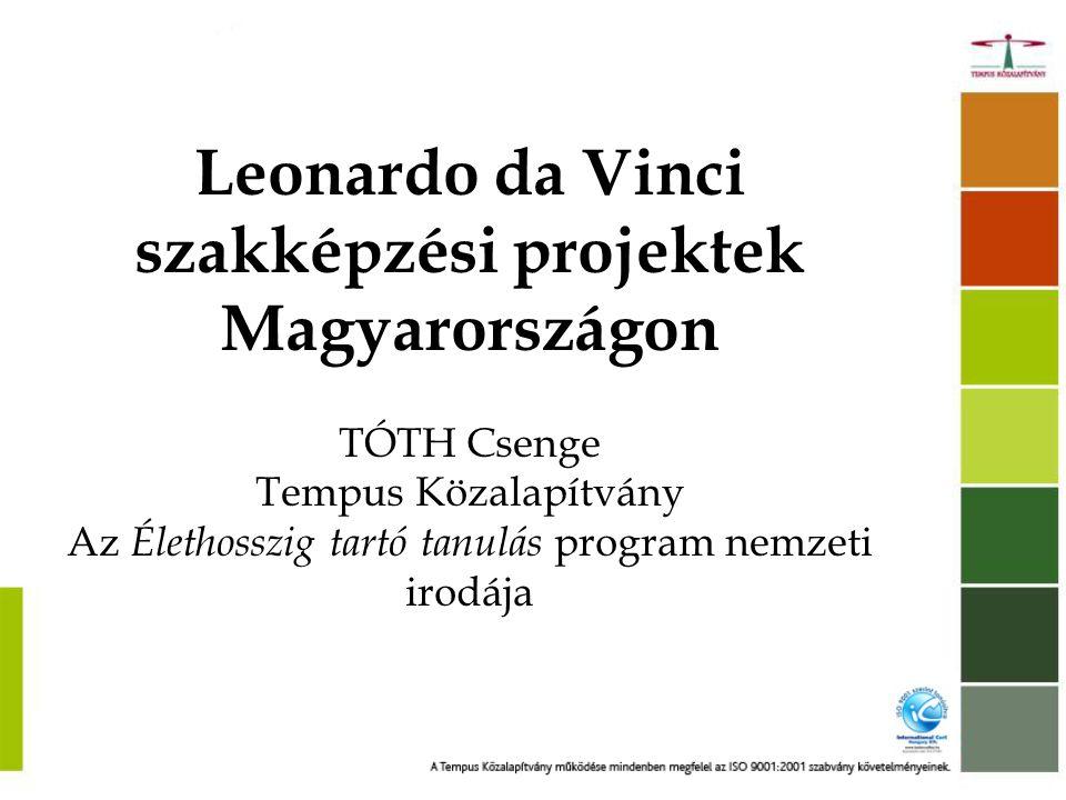 Leonardo da Vinci szakképzési projektek Magyarországon TÓTH Csenge Tempus Közalapítvány Az Élethosszig tartó tanulás program nemzeti irodája