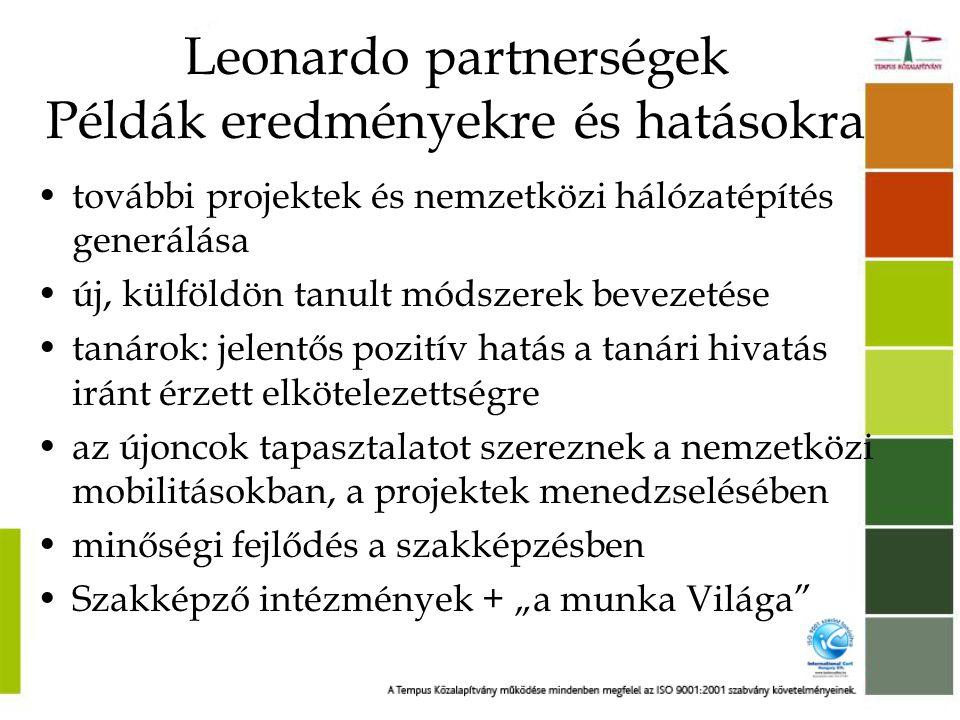 Leonardo partnerségek Példák eredményekre és hatásokra
