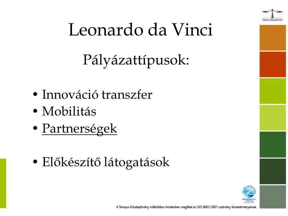 Leonardo da Vinci Pályázattípusok: Innováció transzfer Mobilitás