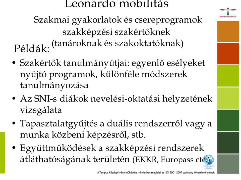 Leonardo mobilitás Szakmai gyakorlatok és csereprogramok szakképzési szakértőknek (tanároknak és szakoktatóknak)