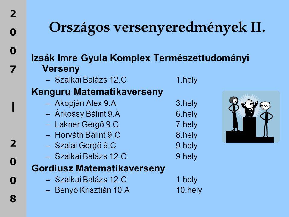 Országos versenyeredmények II.