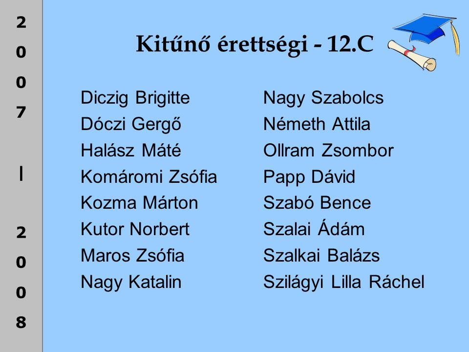 Kitűnő érettségi - 12.C Diczig Brigitte Dóczi Gergő Halász Máté