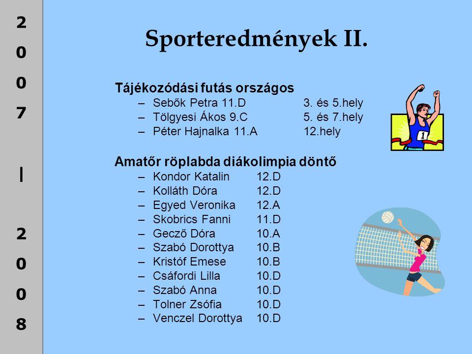 Sporteredmények II. Tájékozódási futás országos