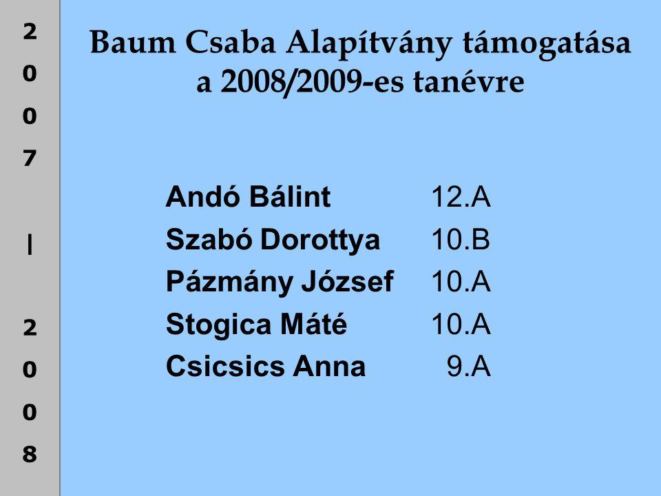 Baum Csaba Alapítvány támogatása a 2008/2009-es tanévre