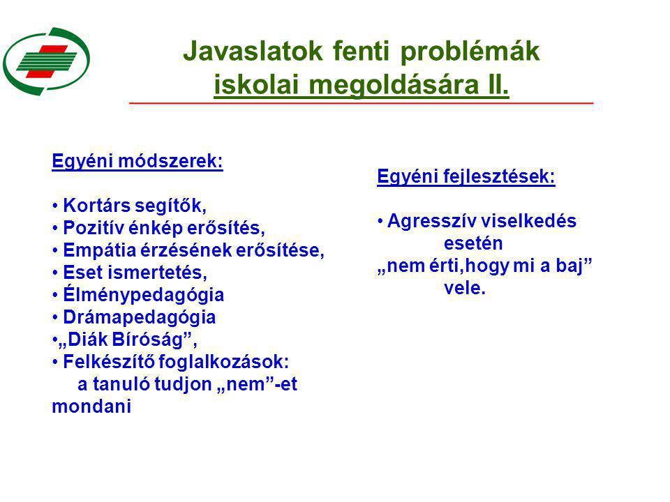 Javaslatok fenti problémák iskolai megoldására II.