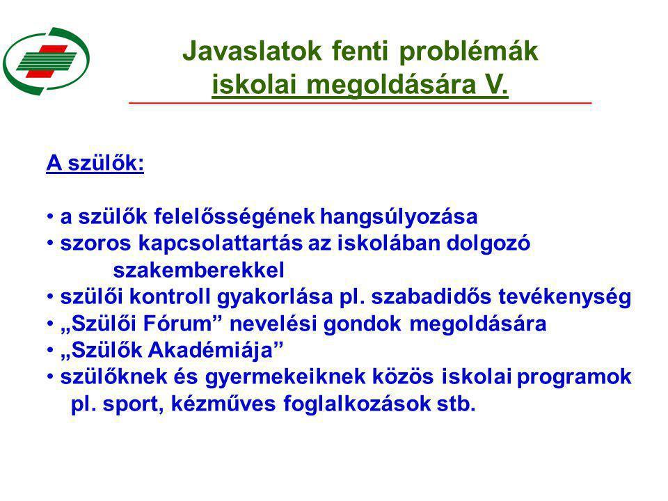 Javaslatok fenti problémák iskolai megoldására V.