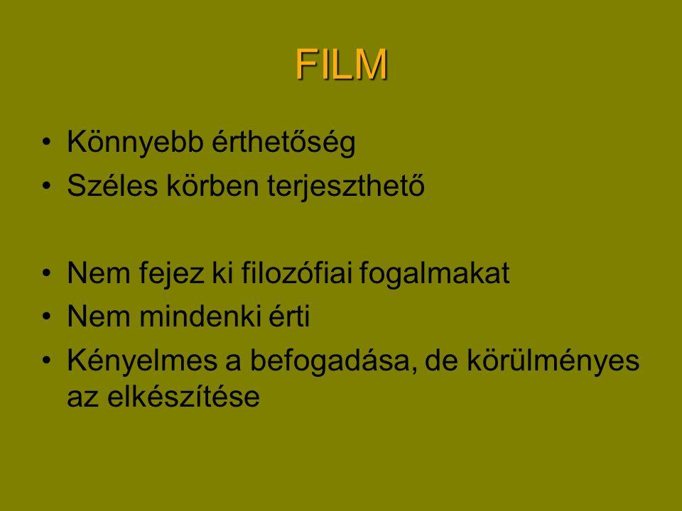 FILM Könnyebb érthetőség Széles körben terjeszthető