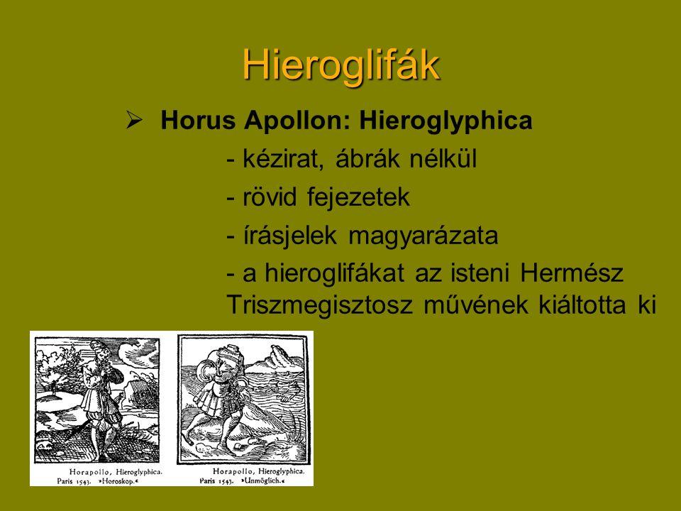 Hieroglifák Horus Apollon: Hieroglyphica - kézirat, ábrák nélkül