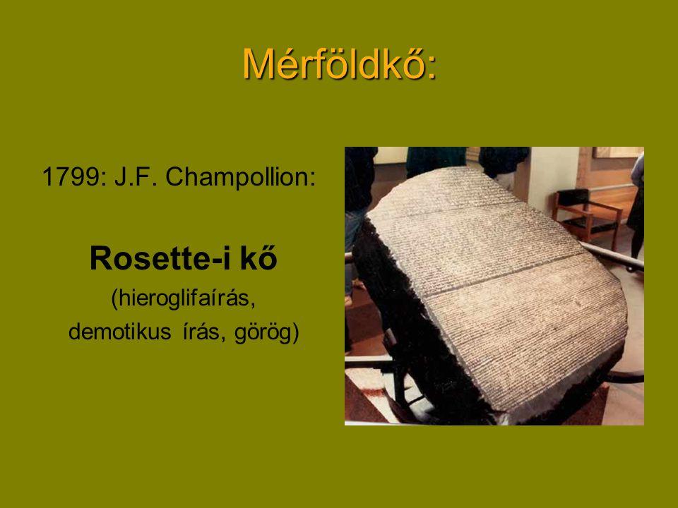 Mérföldkő: Rosette-i kő 1799: J.F. Champollion: (hieroglifaírás,