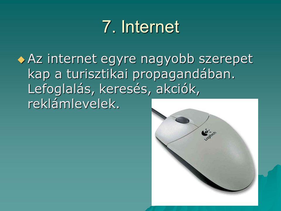 7. Internet Az internet egyre nagyobb szerepet kap a turisztikai propagandában.