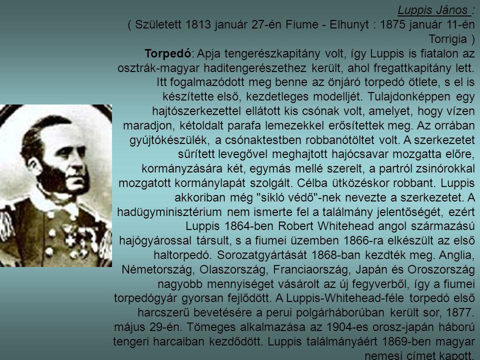 Luppis János : ( Született 1813 január 27-én Fiume - Elhunyt : 1875 január 11-én Torrigia )