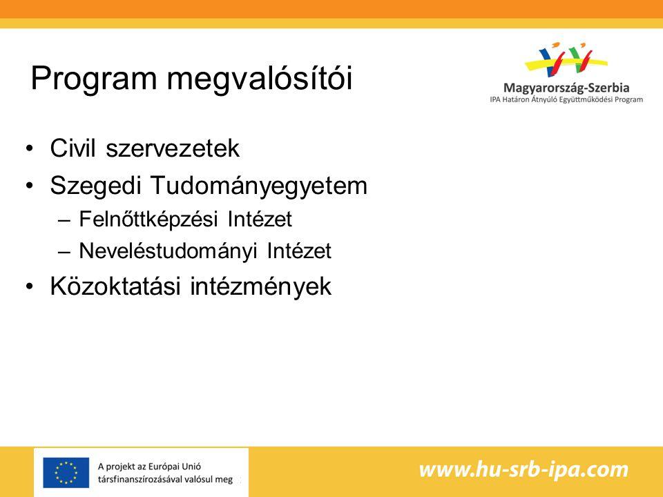 Program megvalósítói Civil szervezetek Szegedi Tudományegyetem