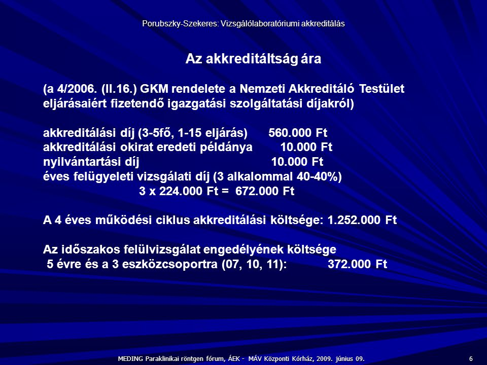 Porubszky-Szekeres: Vizsgálólaboratóriumi akkreditálás
