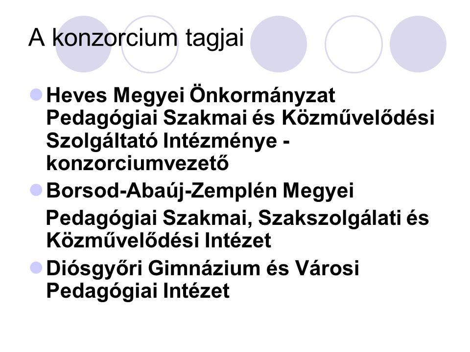 A konzorcium tagjai Heves Megyei Önkormányzat Pedagógiai Szakmai és Közművelődési Szolgáltató Intézménye - konzorciumvezető.