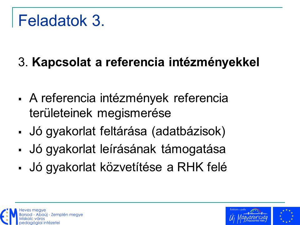 Feladatok 3. 3. Kapcsolat a referencia intézményekkel