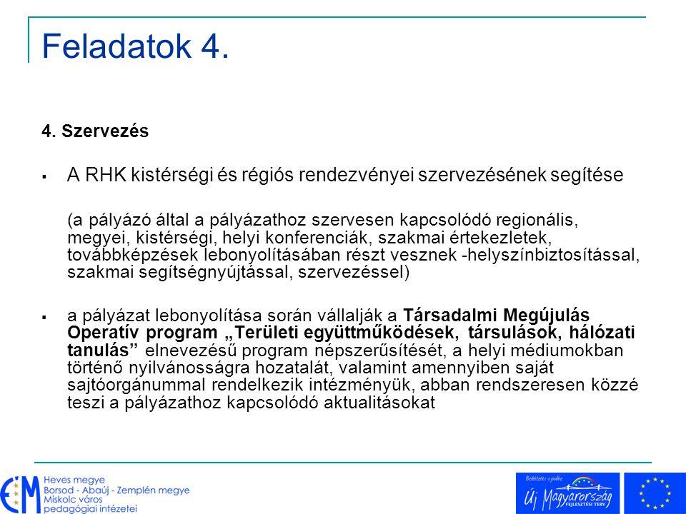 Feladatok 4. 4. Szervezés. A RHK kistérségi és régiós rendezvényei szervezésének segítése.