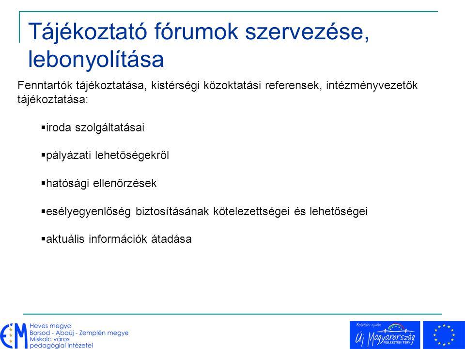 Tájékoztató fórumok szervezése, lebonyolítása
