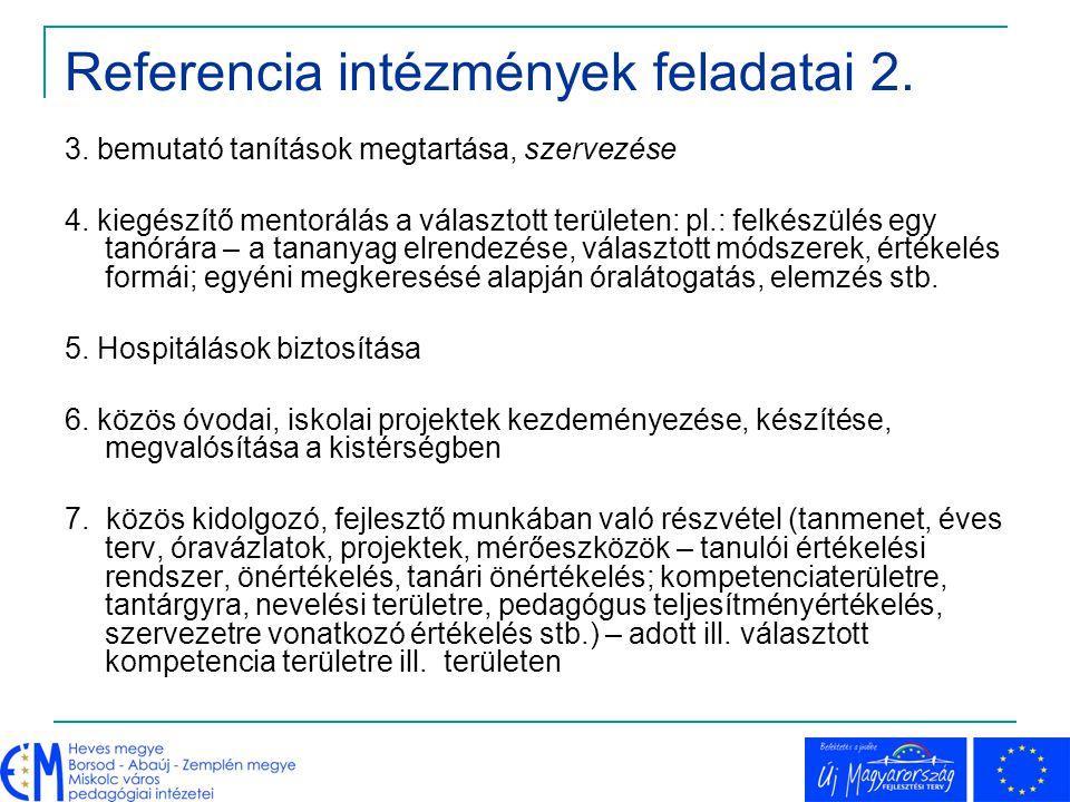 Referencia intézmények feladatai 2.