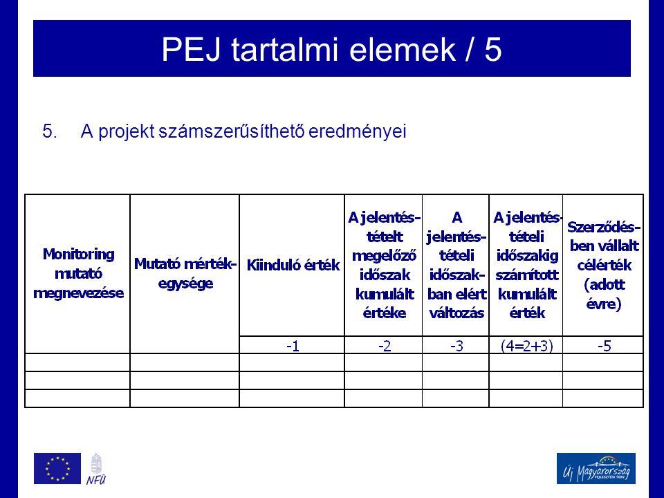 PEJ tartalmi elemek / 5 A projekt számszerűsíthető eredményei