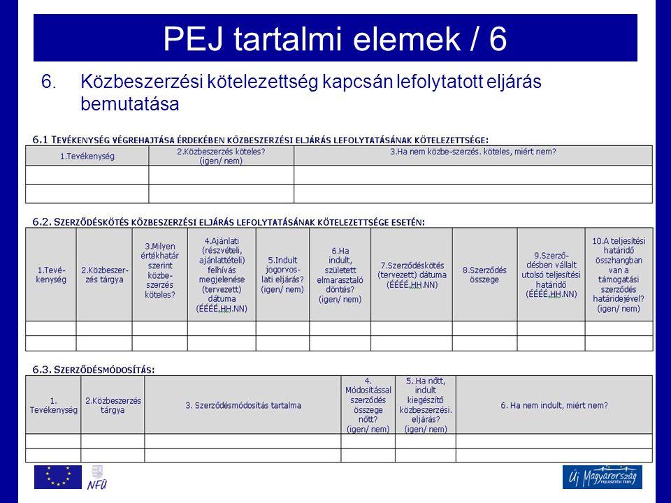 PEJ tartalmi elemek / 6 Közbeszerzési kötelezettség kapcsán lefolytatott eljárás bemutatása