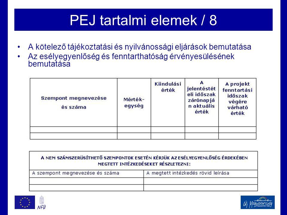 PEJ tartalmi elemek / 8 A kötelező tájékoztatási és nyilvánossági eljárások bemutatása.