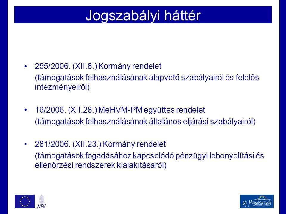 Jogszabályi háttér 255/2006. (XII.8.) Kormány rendelet