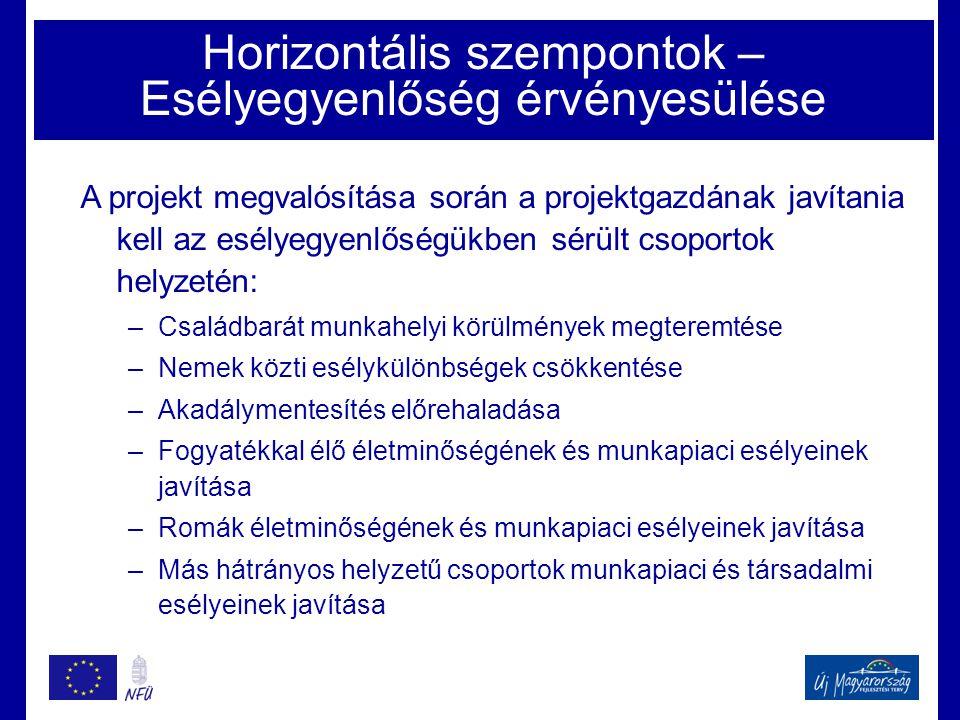 Horizontális szempontok – Esélyegyenlőség érvényesülése
