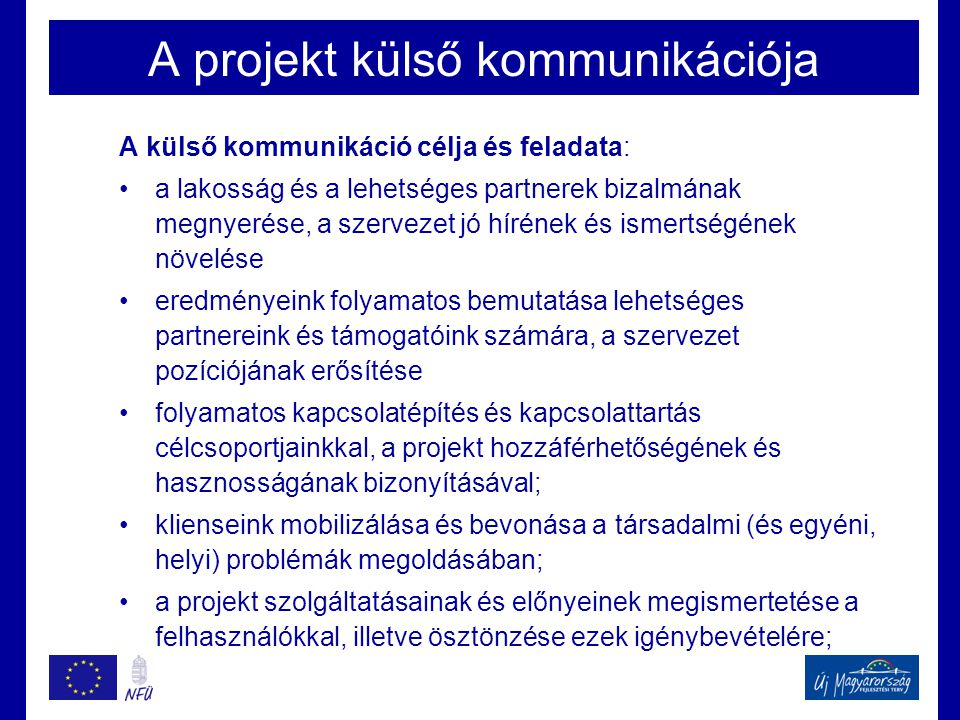 A projekt külső kommunikációja