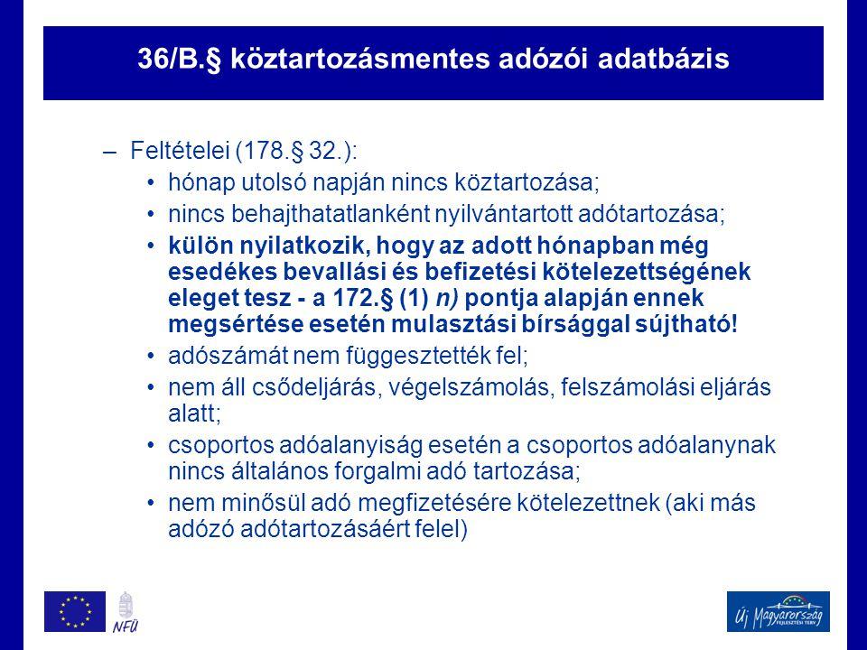 36/B.§ köztartozásmentes adózói adatbázis