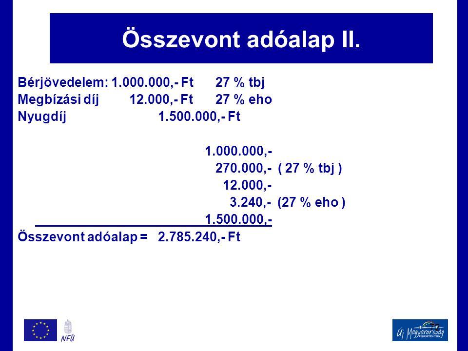 Összevont adóalap II. Bérjövedelem: 1.000.000,- Ft 27 % tbj