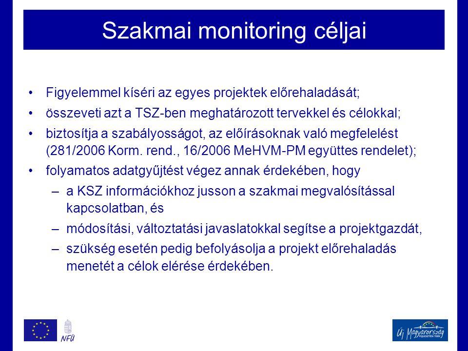 Szakmai monitoring céljai