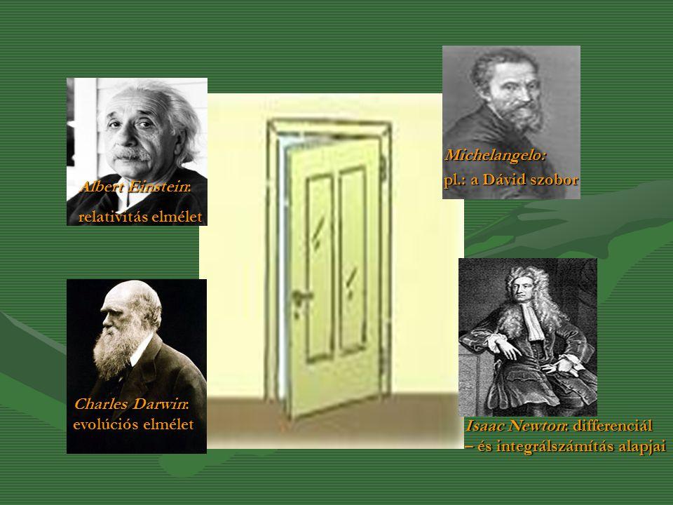 Michelangelo: pl.: a Dávid szobor. Albert Einstein: relativitás elmélet. Charles Darwin: evolúciós elmélet.