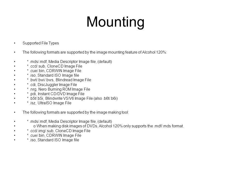 Mounting Supported File Types