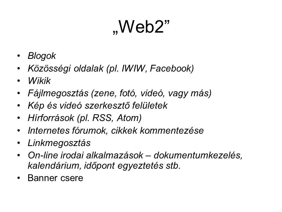 """""""Web2 Blogok Közösségi oldalak (pl. IWIW, Facebook) Wikik"""