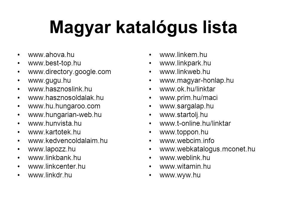 Magyar katalógus lista