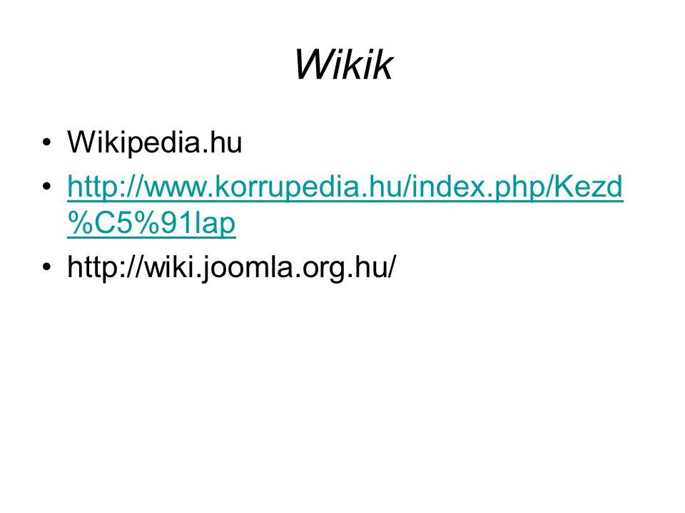 Wikik Wikipedia.hu http://www.korrupedia.hu/index.php/Kezd%C5%91lap