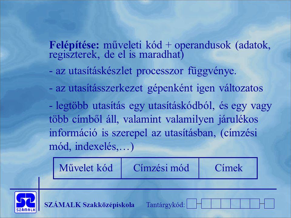 - az utasításkészlet processzor függvénye.